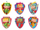Set of frames with funny children in superhero costumes