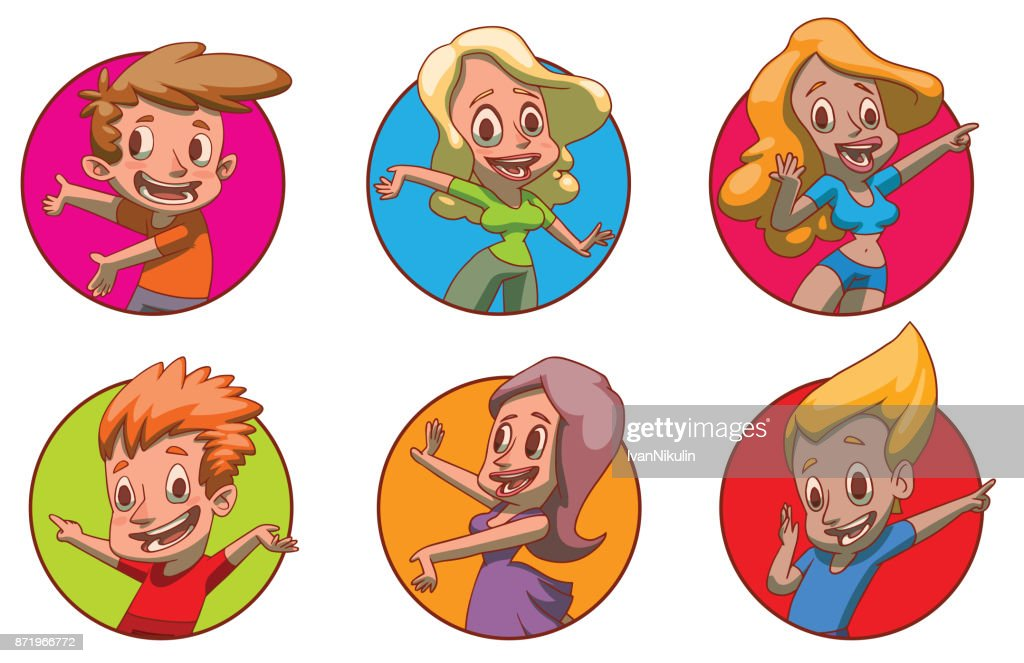 Set Of Frames With People Presenting Something Color Image Vector ...