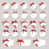 Set of frames (gift cards) with red bows isolated on background.