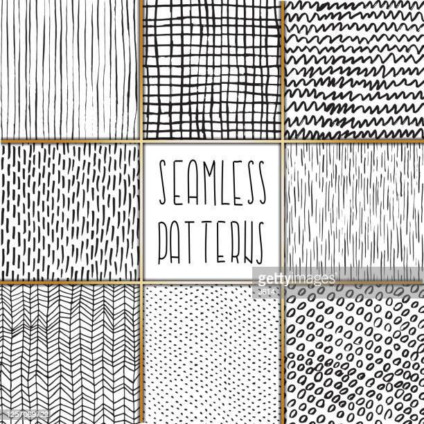 ilustrações, clipart, desenhos animados e ícones de um conjunto de padrões de rabiscos à mão livre - fileira