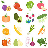 Set of fresh healthy vegetables, berries and fruits. Slices of fruits and vegetables. Flat design. Organic farm illustration.