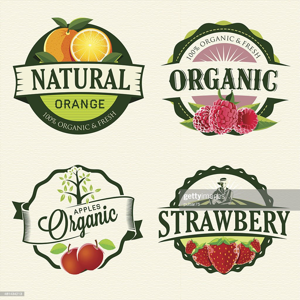 Set of Fresh & Organic labels