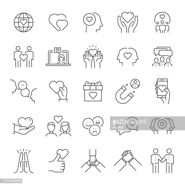 illustrations, cliparts, dessins animés et icônes de ensemble d'icônes de ligne liées à l'amitié et aux relations. accident vasculaire cérébral modifiable. icônes de contour simple. - génération du millénaire