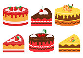 Set of fruit cakes, whole and slice. Strawberry, cherry and citrus. Vector illustration