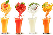 Set of fruit juice splash in a glass. r