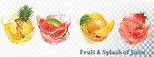 Set of fruit juice splash .