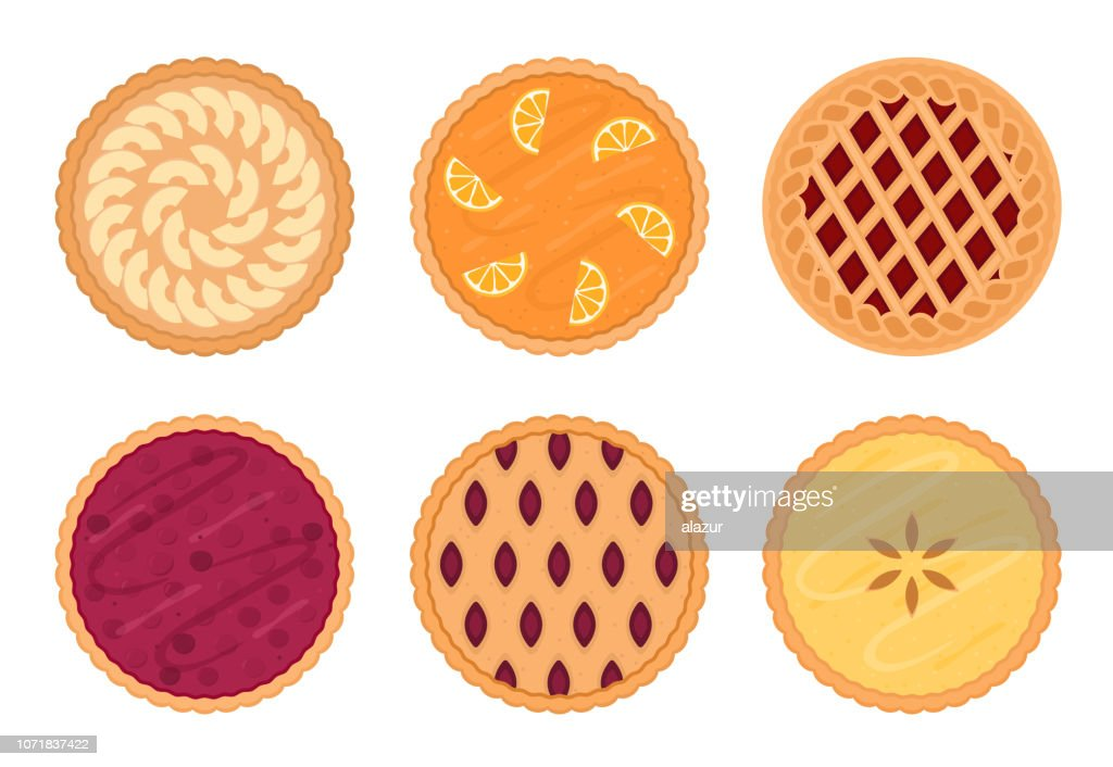 Set of fruit pies. Isolated on white background.