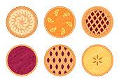 Set of fruit pies. Isolated on white background.
