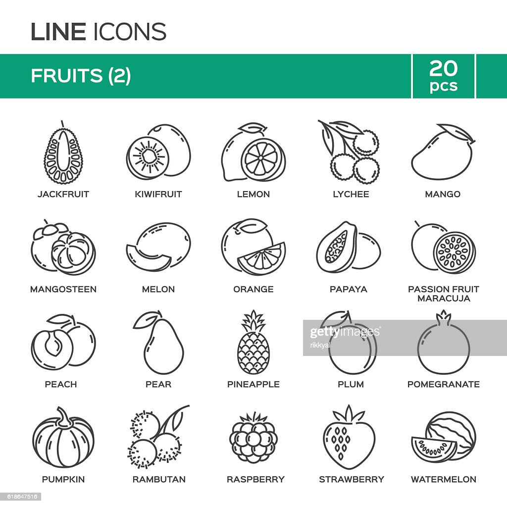 Set of fruit thin line icons in alphabetical order.