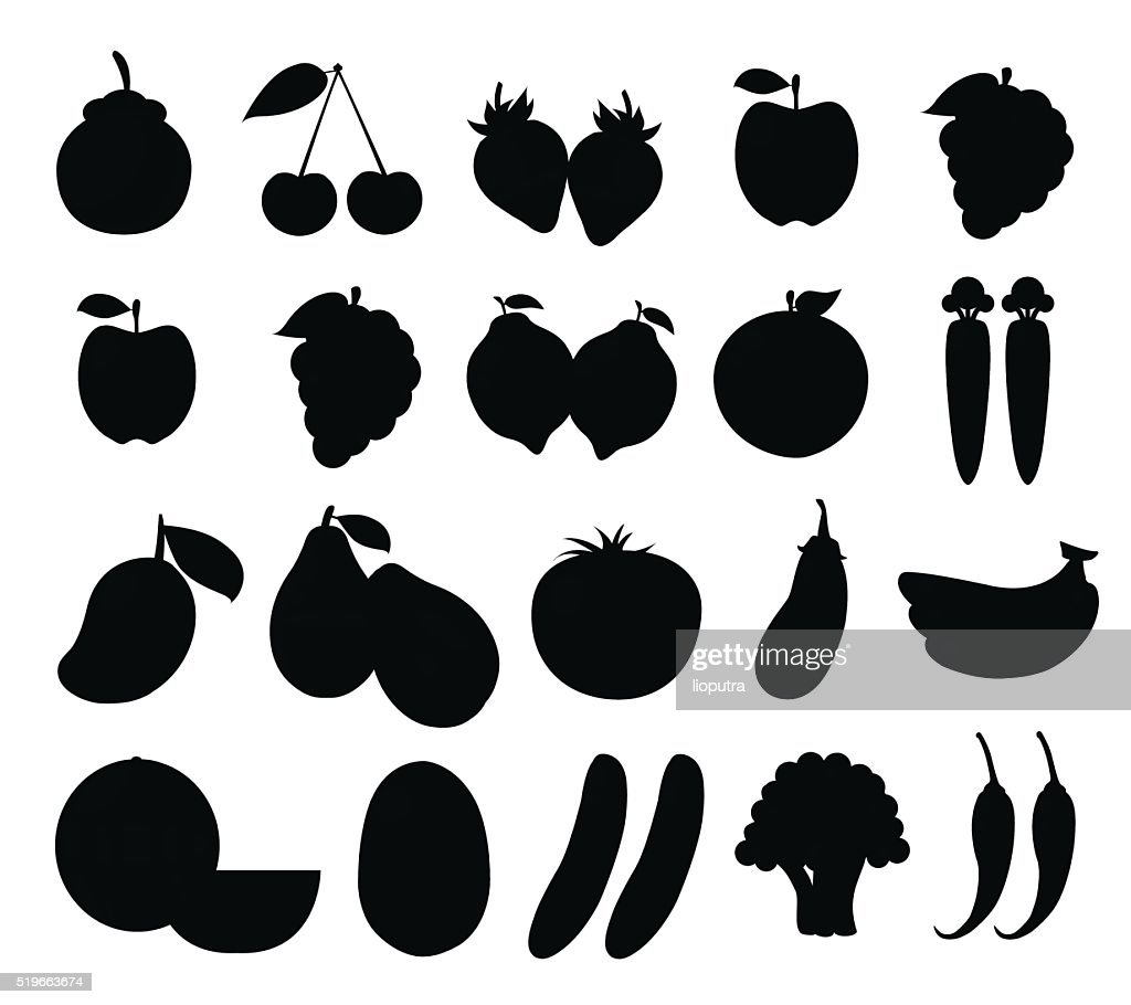 Set of Fruits and Vegetables Isolated Vector. Illustration. Cartoon Silhouette
