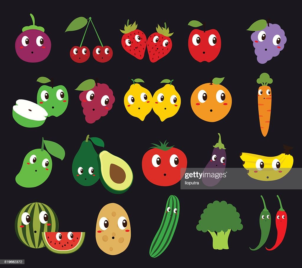 Set of Fruits and Vegetables Isolated Vector. Illustration. Cartoon Character