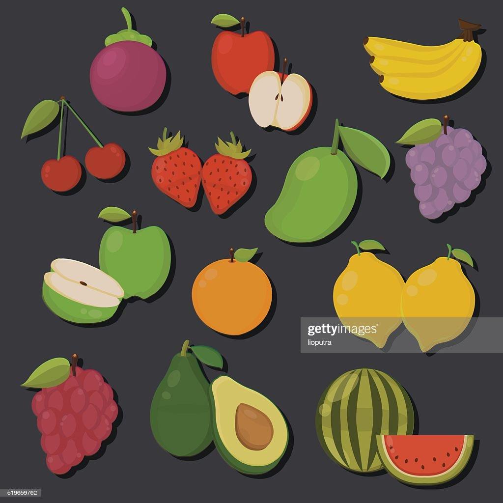 Set of Fruits Isolated Vector. Illustration. Cute Cartoon.