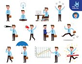 Set of full body businessman character poses. gestures and actions concept. Office worker standing. walking. searching. callphone. meditation. working.  Vector flat design illustration on white
