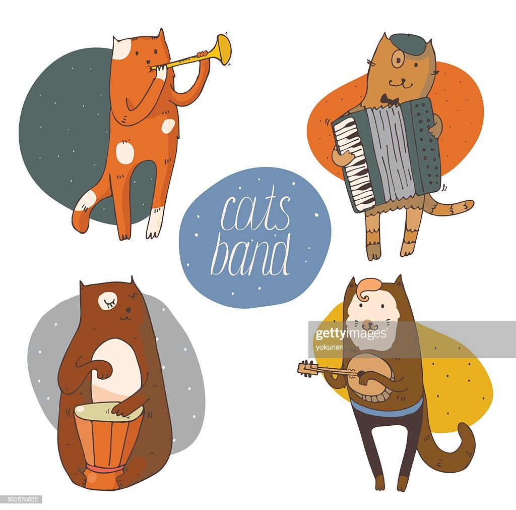 Set of fun cats playing musical instruments