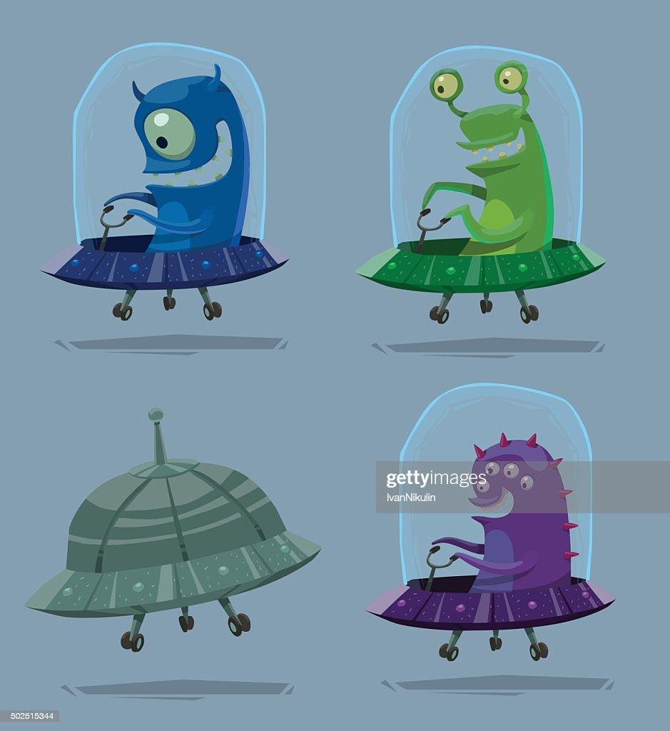 Set of funny aliens in UFO