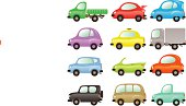 Set of funny and colored vector cars