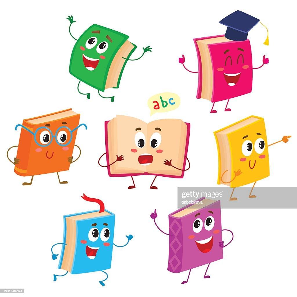 Set of funny book characters, mascots, cartoon vector illustration