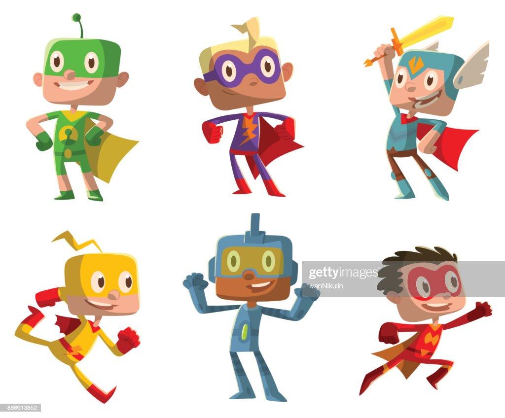 Set of funny boys in superhero costumes