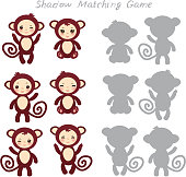 Set of funny brown monkey isolated on white background, Shadow Matching Game for Preschool Children. Find the correct shadow. Vector