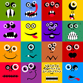 Set of funny cartoon expression monster