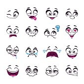 Set of funny cartoon vector comic faces