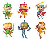 Set of funny children in superhero costumes