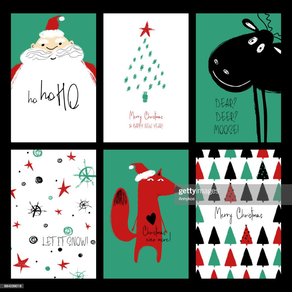 Set Of Funny Christmas Cards Vector Art Getty Images