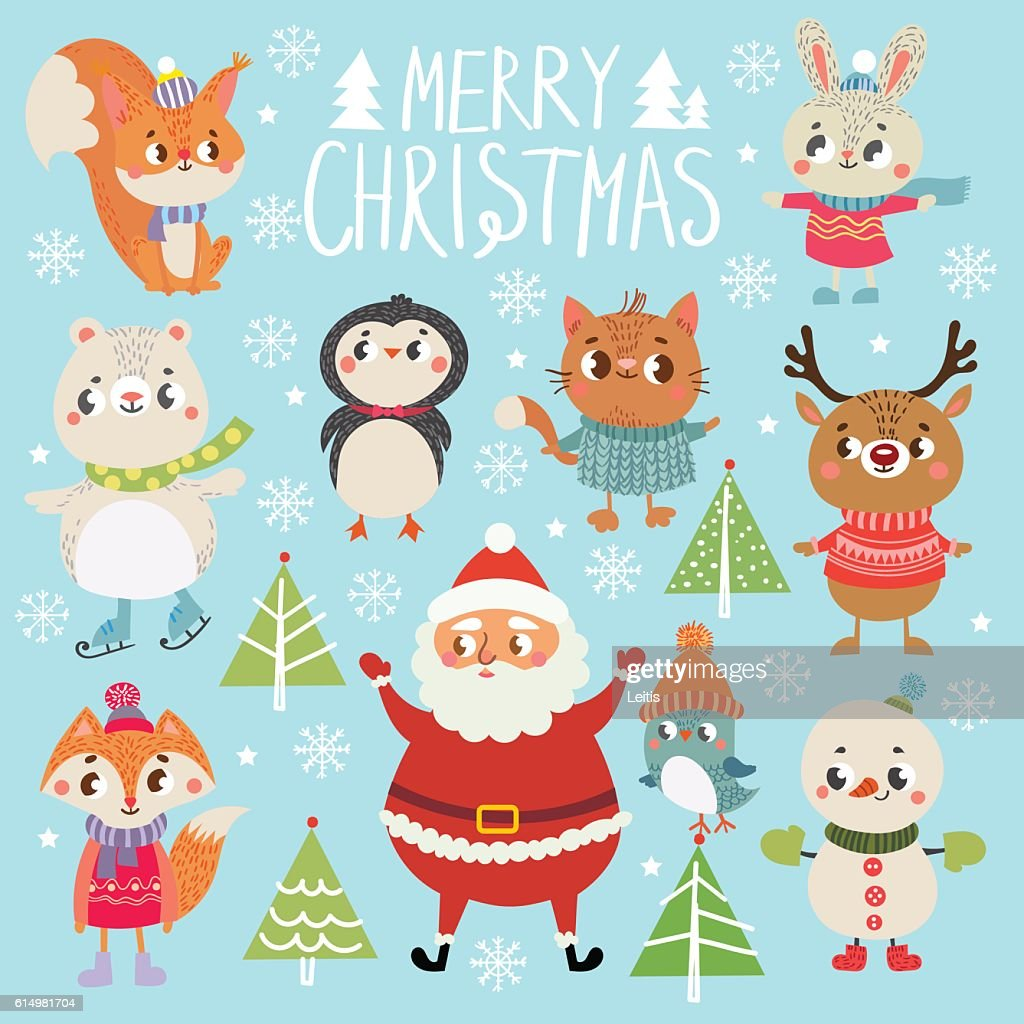 Set of funny Christmas personages.