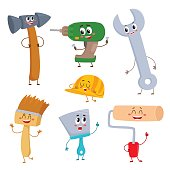 Set of funny comic style building tool characters