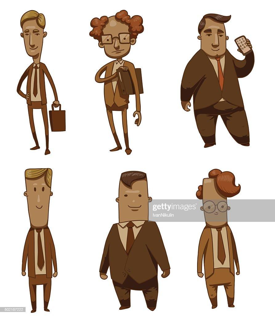 Set of funny different businessmen