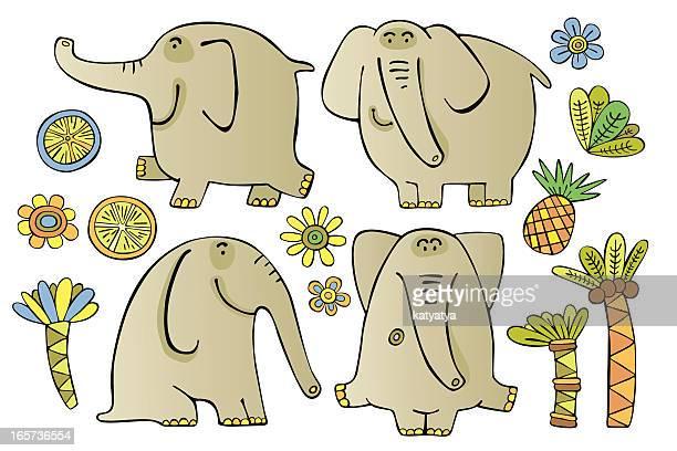 Set of funny elephants