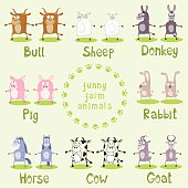 Set of funny farm animals drawing in cartoon style