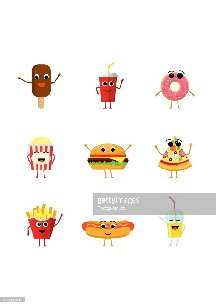 Set of funny fast food characters isolated on white background. Cute cartoon fastfood menu icons in flat style vector illustration