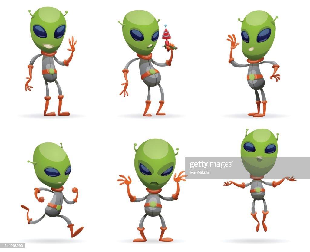 Set of funny green aliens