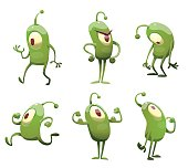 Set of funny green microbes