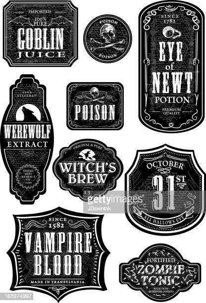 set of funny hallowe'en themed labels - beer alcohol stock illustrations, clip art, cartoons, & icons