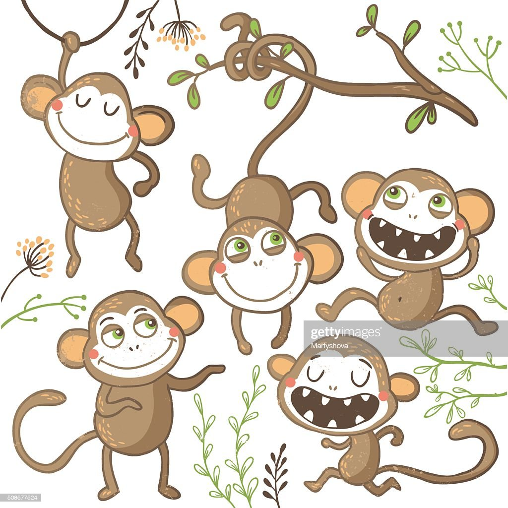 Set of funny hand drawn monkeys, : Vektorgrafik