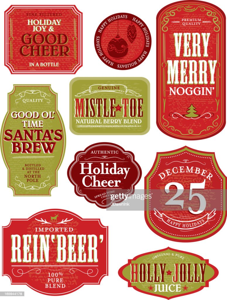 Set of funny Holiday or Christmas themed labels : stock illustration