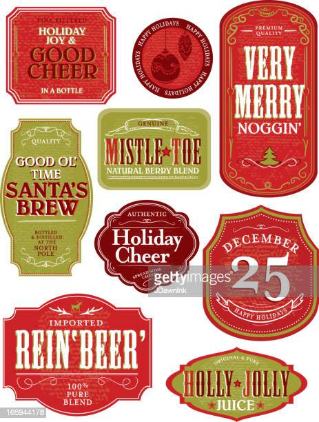 set of funny holiday or christmas themed labels - juice drink stock illustrations, clip art, cartoons, & icons