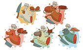 Set of funny illustrations for cooking