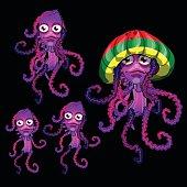 Set of funny jellyfish Rasta, Rasta cap beret