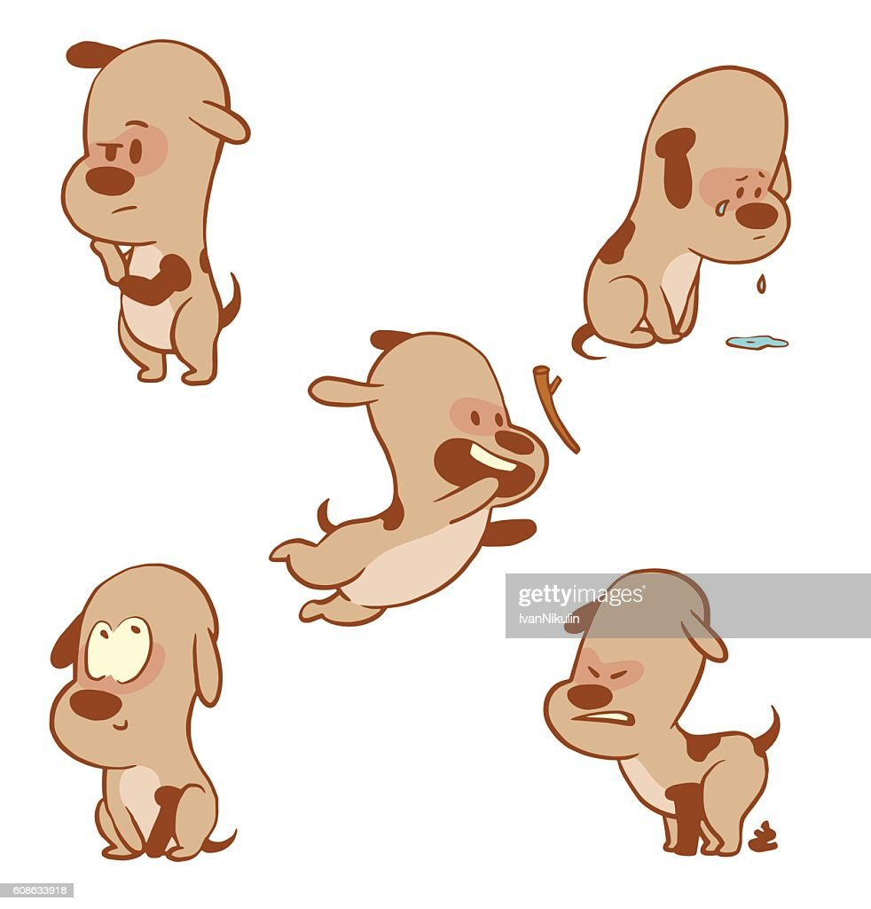 Set of funny little dogs, color image