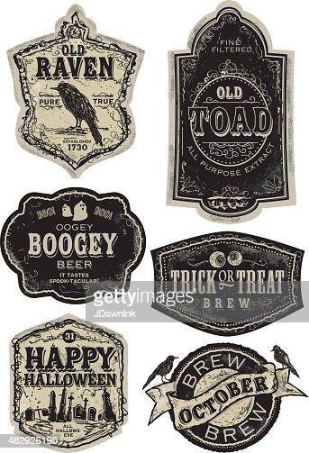 Set Of Funny Old Fashioned Halloween Beer Labels Vector ...