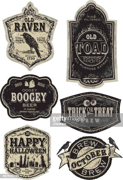 set of funny old fashioned halloween beer labels - beer alcohol stock illustrations, clip art, cartoons, & icons
