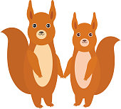 Set of funny red squirrels with fluffy tail isolated on white background. Vector