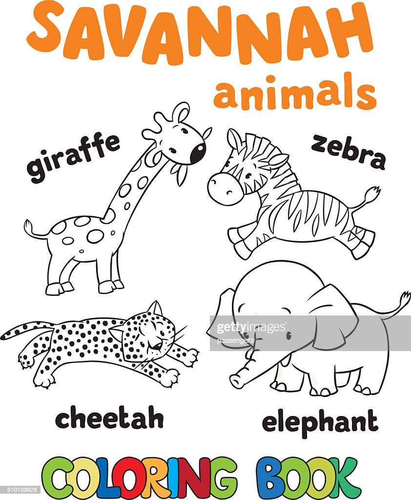 Set of funny savannah animals. Coloring book