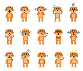 Set of funny yellow dog characters showing different emotions.