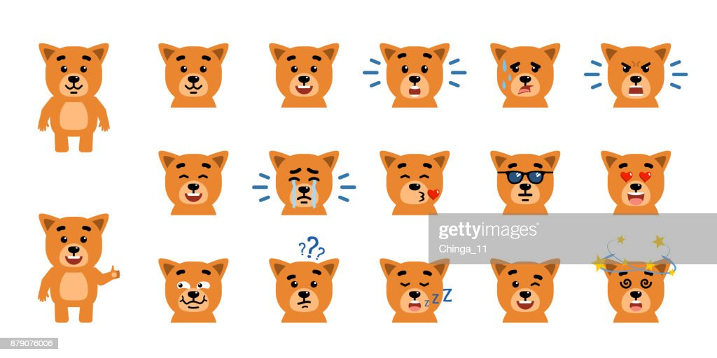 Set of funny yellow puppy emoticons showing different emotions