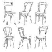 Set of furniture. 3D Sketch.
