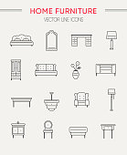 Set of furniture and home decor vector icons